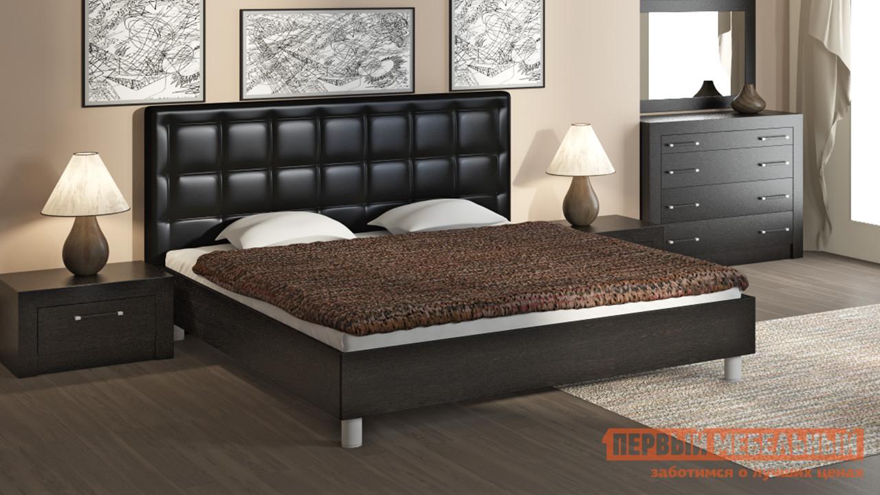 Двуспальная кровать ТриЯ Токио СМ-131.01.002 Темный мебельтрия кровать двуспальная токио см 131 01 002 дуб белфорт кожа темная