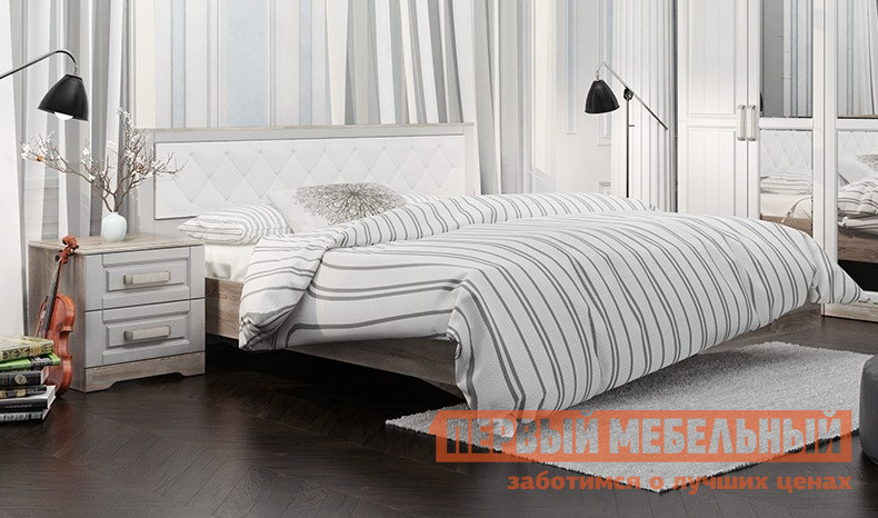 Двуспальная кровать ТриЯ СМ-223.01.005 мебельтрия кровать двуспальная токио см 131 01 002 дуб белфорт кожа темная