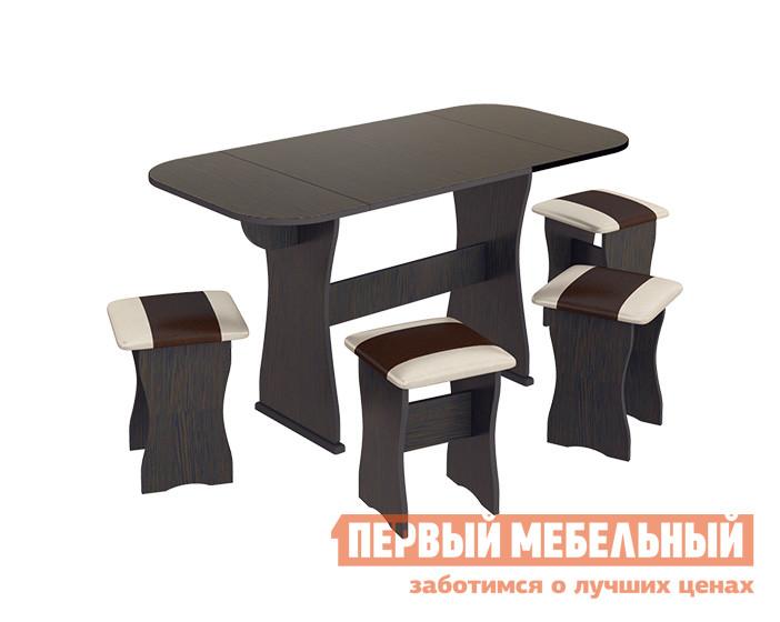 Обеденная группа для кухни ТриЯ Тип 4 Венге / Санчо, коричневая иск. кожаОбеденные группы для кухни<br>Габаритные размеры ВхШхГ 750x705 / 1265x630 мм. Простая и одновременно стильная обеденная группа, состоящая из четырёх табуретов и обеденного стола.  Модель имеет очень элегантный вид, она компактна и непритязательна.  Гарнитур отлично впишется в классический интерьер кухни или дачного домика и наполнит уютом помещение. Столешница стола раскладывается до 1265 мм, благодаря двум откидным крыльям. Ширина одного крыла — 280 мм. Размеры табуретов — 430 х 330 х 330 мм. Комплект изготавливается из ЛДСП, обивка сидений — искусственная кожа.<br><br>Цвет: Венге / Санчо, коричневая иск. кожа<br>Цвет: Коричневый<br>Цвет: Венге<br>Высота мм: 750<br>Ширина мм: 705 / 1265<br>Глубина мм: 630<br>Кол-во упаковок: 1<br>Форма поставки: В разобранном виде<br>Срок гарантии: 18 месяцев<br>Тип: Раскладные, На 4 персоны<br>Материал: Деревянные, из ЛДСП<br>Форма: Прямоугольные<br>Размер: Маленькие<br>Особенности: С табуретками