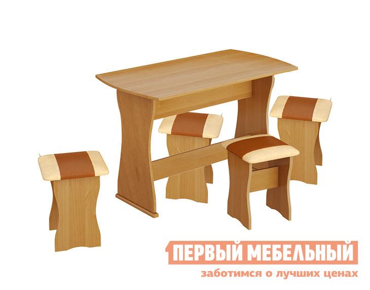 Обеденная группа для кухни ТриЯ Тип 1 Ольха / Бук, коричневая иск. кожа от Купистол