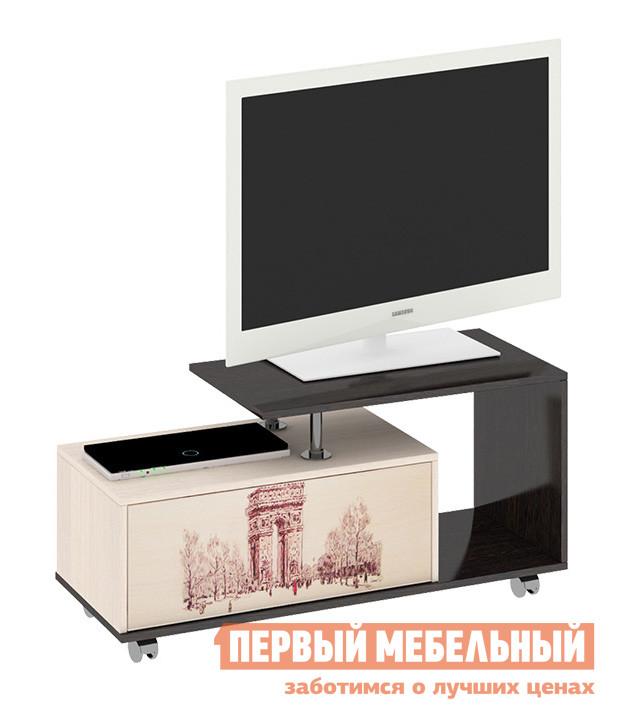 ТВ-тумба ТриЯ Тумба выкатная TV-18.1 Венге Цава / Молочный дуб (рисунок)