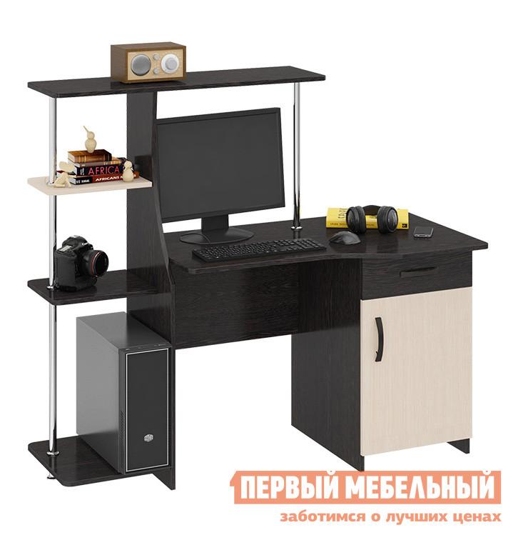 Компьютерный стол ТриЯ Студент-стиль (М) Венге Цава / Молочный дуб