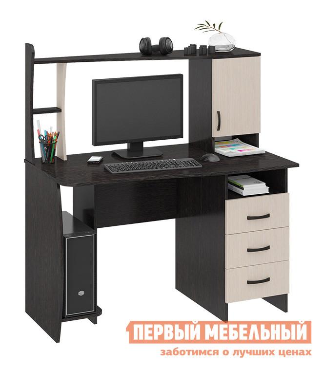 Компьютерный стол ТриЯ Студент-класс (М) Венге Цава / Молочный дубКомпьютерные столы<br>Габаритные размеры ВхШхГ 1350x1200x670 мм. Компактный компьютерный стол, который идеально подойдёт для помещения с небольшими габаритами. Столешница имеет немного скошенную к углу форму.  Меньшая сторона имеет глубину 58 см, большая — 67 см.  Стол имеет вместительную нишу для монитора высотой 614 мм и шириной 552 мм.  В основании стола располагается полка под системный блок и тумба с нишей и тремя выдвижными ящиками.  Размер ниши под системный блок (высота Х ширина Х глубина): 650 Х 230 Х 430 мм.  Фасад ящика 164х346 мм, дно ящика 290х405 мм, размер боковой стенки ящика 100х400 мм. Небольшая надстройка оснащена полочкой для разных мелочей и закрытым шкафчиком для книг и тетрадей. Стол изготавливается из высококачественного ДСП.<br><br>Цвет: Венге Цава / Молочный дуб<br>Цвет: Темное-cветлое дерево<br>Высота мм: 1350<br>Ширина мм: 1200<br>Глубина мм: 670<br>Форма поставки: В разобранном виде<br>Срок гарантии: 24 месяца<br>Тип: Прямые<br>Материал: Деревянные, из ЛДСП<br>Размер: Большие, Шириной 120 см<br>Особенности: С надстройкой, С тумбой, С полками