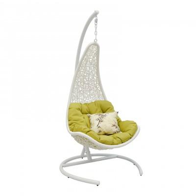 Подвесное кресло ЭкоДизайн Wind White Белый иск. ротанг, Светло-зеленый