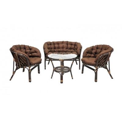 Комплект плетеной мебели ЭкоДизайн 03/10 (S) Браун