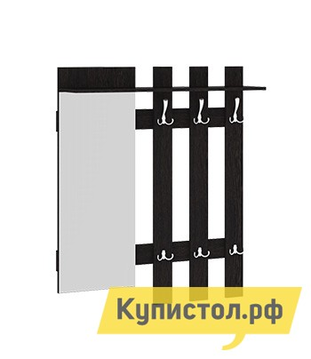 Настенная вешалка ТриЯ Вешалка с крючками и зеркалом Арт  Венге Цаво