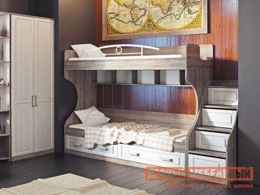 Двухъярусная кровать с боковой приставной лестницей ТриЯ СМ-223.11.001 детская двухъярусная кровать с лестницей ящиками трия см 250 11 12