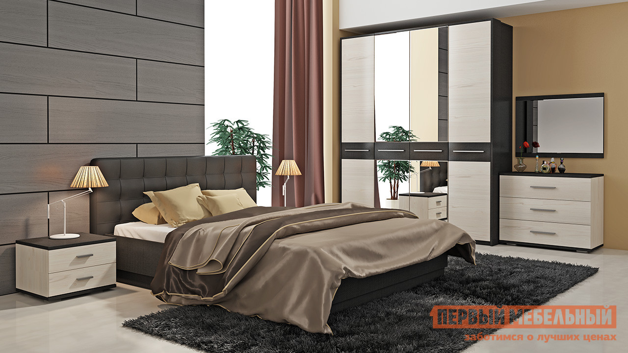 Комплект мебели для спальни ТриЯ Сити Тексит К2 спальный гарнитур трия саванна к2