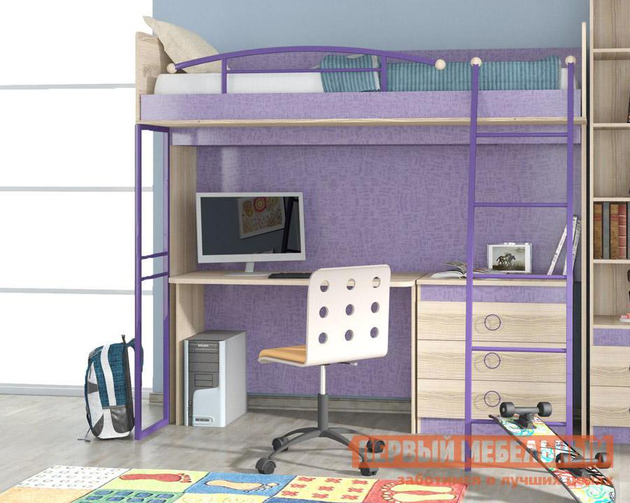 Кровать-чердак для взрослых с рабочей зоной и шкафом ТриЯ Индиго К7