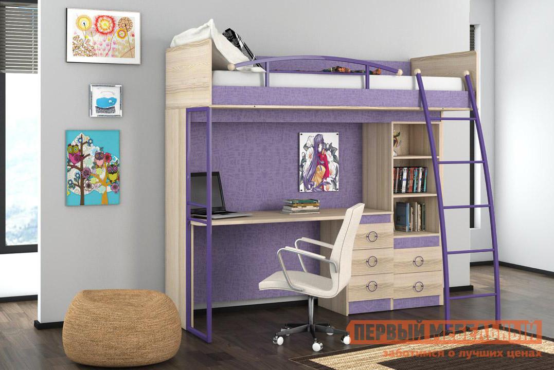 Детская кровать-чердак с рабочим местом ТриЯ Индиго К5 двухъярусная кровать трия индиго к4