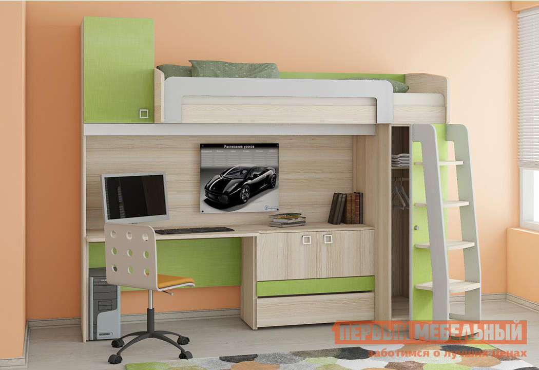 Кровать-чердак для детей с рабочей зоной ТриЯ Киви К7