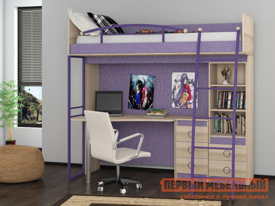 Детская кровать-чердак со столом и шкафом ТриЯ Индиго К6 детская кровать чердак с рабочей зоной и шкафом мелания милана 3 дуб