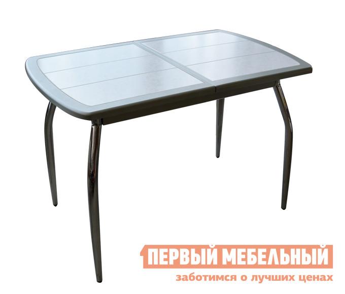 Кухонный стол Кубика Будапешт-1 (ноги хром) Серебро / Плитка 7014Кухонные столы<br>Габаритные размеры ВхШхГ 750x960 / 1280x600 мм. Оригинальный кухонный стол на хромированных ножках привнесет свежести и законченности обеденной зоне. Модель прекрасно подойдет даже для интерьера малого размера.  Если вам необходимо принимать гостей, можно увеличить полезную площадь стола при помощи вставки шириной 320 мм с механизмом «бабочка». Рама кухонного стола изготовлена из МДФ, покрытой ПВХ пленкой и керамической плиткой — сочетание этих материалов обеспечивает хороший срок службы и свежий вид долгие годы. Швы между плиткой пропитаны влагостойкой затиркой с пластификатором, что обеспечивает защиту от влаги и грибка.<br><br>Цвет: Белый<br>Цвет: Серый<br>Высота мм: 750<br>Ширина мм: 960 / 1280<br>Глубина мм: 600<br>Форма поставки: В разобранном виде<br>Срок гарантии: 1 год<br>Тип: Раздвижные<br>Тип: Трансформер<br>Материал: МДФ<br>Форма: Овальные<br>Размер: Маленькие<br>С плиткой: Да<br>С металлическими ножками: Да