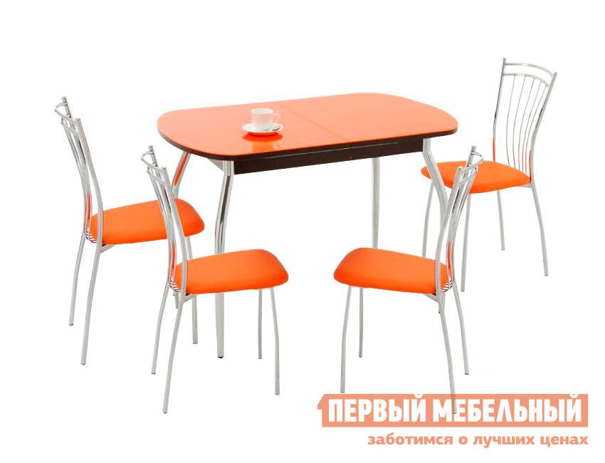 Обеденная группа для кухни Кубика Портофино-1 + 4 шт Олива-2 Стекло оранжевое / Венге