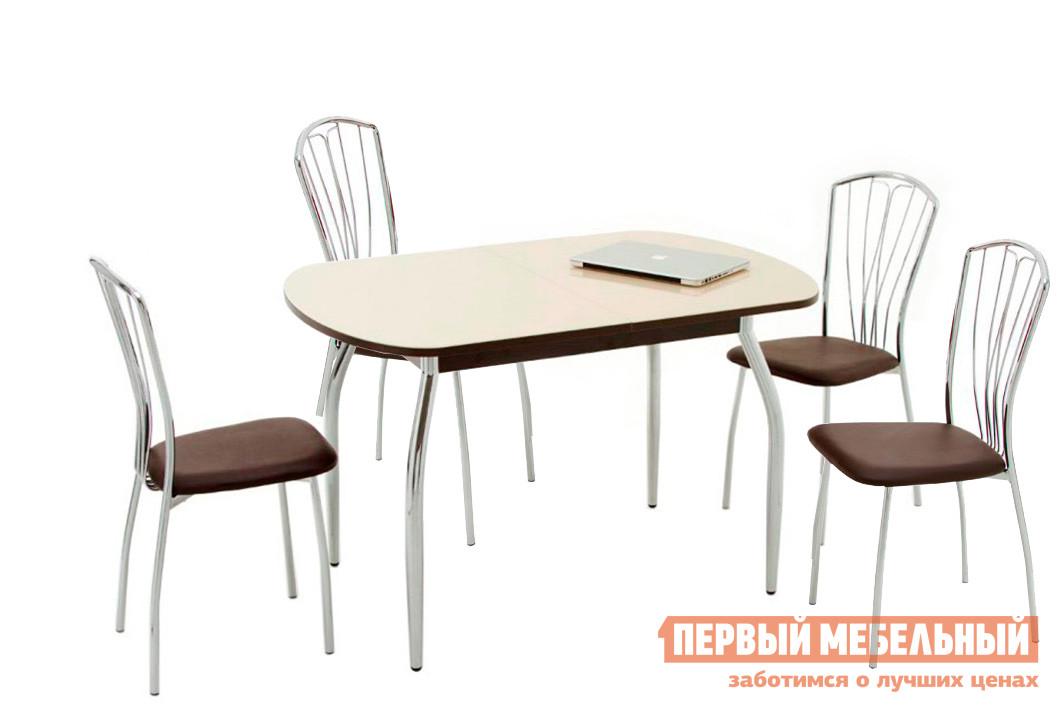 Обеденная группа для кухни Кубика Портофино-2 + 4 шт Олива-3 Стекло песочное / Венге Кубика Габаритные размеры ВхШхГ 750x1200 / 1520x800 мм. Обеденная группа представлена столом со стеклянной столешницей и четырьмя стульями. <br>Размер стола (ВхШхГ): 750 х 1200 / 1520 х 800 мм;<br>Размер стула (ВхШхГ): 900 х 400 х 450 мм. <br><br>Стол выполнен из качественных материалов, в лучших традициях европейского дизайна.  Столешница —закаленное стекло, покрытое керамической краской Ferro.  Кроме того, стол оснащен зеркальным хромированным подстольем, что придает модели изысканный и стильный вид.  Каркас стола выполнен из хромированного металла.  Стол можно разложить, вставка из ЛДСП легко выдвигается.  Ширина ее - 320 мм. <br> Дополняет обеденную группу стулья с металлическими  хромированными ножками, спинкой и мягким сидением из искусственной кожи.  При изготовлении учтены современные тенденции дизайна столовой мебели.  Материалы, из которых выполнена модель, отличаются износостойкостью и практичностью. <br>Сочетание стекла и металла прекрасно гармонирует.  Такой вариант комплектации обеденной группы подходит для оформления интерьера столовой и кухни, кафе и других общественных мест. <br>