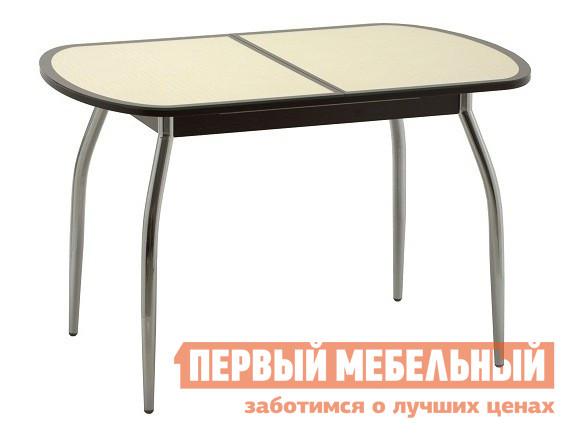 Овальный стол на кухню из стекла Кубика Касабланка-1 (ноги хром)