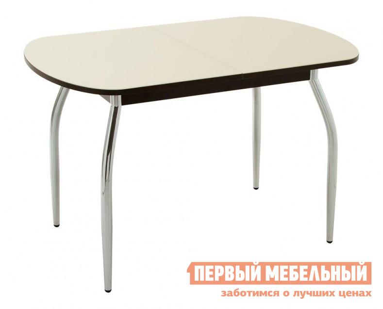 Кухонный стол Кубика Портофино-2 Стекло песочное / ВенгеКухонные столы<br>Габаритные размеры ВхШхГ 750x1200 / 1520x800 мм. Очень красивая современная модель стола для кухни или столовой.  Стол выполнен из качественных материалов, в лучших традициях европейского дизайна.  Столешница – закаленное стекло, покрытое керамической краской Ferro. Кроме того, стол оснащен зеркальным хромированным подстольем, что придает модели изысканный и стильный вид.  Каркас стола выполнен из хромированного металла.  Стол можно разложить, вставка из ЛДСП легко выдвигается.  Ширина ее - 320 мм. Сочетание стекла и металла гармонирует с интерьерами в стиле модерн, хай-тек.  Для транспортировки модель пакуется в разработанную специально для стеклянных изделий упаковку Nomapack.<br><br>Цвет: Бежевый<br>Высота мм: 750<br>Ширина мм: 1200 / 1520<br>Глубина мм: 800<br>Форма поставки: В разобранном виде<br>Срок гарантии: 1 год<br>Тип: Раздвижные<br>Тип: Трансформер<br>Материал: Стекло<br>Форма: Овальные<br>Размер: Большие<br>С металлическими ножками: Да<br>Глянцевые: Да