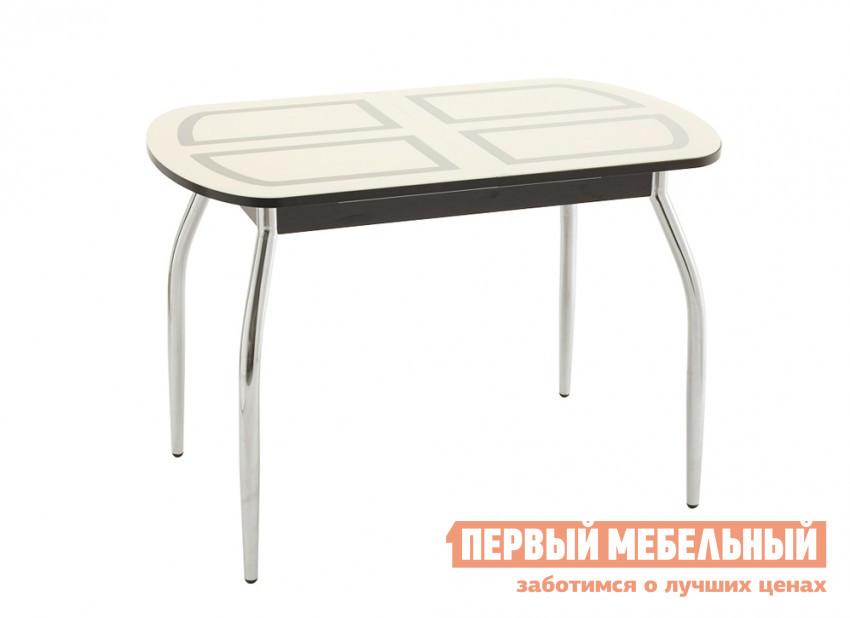 Кухонный стол Кубика Портофино-1 Рис-1 (ноги хром) Стекло песочное / ВенгеКухонные столы<br>Габаритные размеры ВхШхГ 750x1100 / 1420x700 мм. Дизайнерская модель стола для кухни или столовой, разработанная при сотрудничестве с международной дизайн-студией «IP studio design».  Итальянское закаленное стекло, окрашенное керамическими красками, и ламинат – материалы, из которых с большим профессионализмом изготовлена столешница.  Так же стол снабжен зеркальным хромированным подстольем Polished mirror, что придает ему стильность и изящество.  Ножки выполнены из хромированного металла. При необходимости стол можно разложить за счет вставки системы «бабочка», расположенной внутри.  Ширина вставки – 320 мм. Выбирайте подходящий оттенок столешницы и начинайте создавать дизайн кухни с этой модели стола.<br><br>Цвет: Бежевый<br>Высота мм: 750<br>Ширина мм: 1100 / 1420<br>Глубина мм: 700<br>Форма поставки: В разобранном виде<br>Срок гарантии: 1 год<br>Тип: Раздвижные<br>Тип: Трансформер<br>Материал: Стекло<br>Форма: Овальные<br>Размер: Маленькие<br>С металлическими ножками: Да<br>Глянцевые: Да