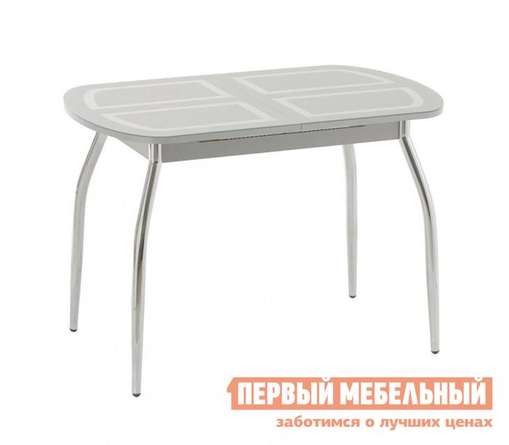 Кухонный стол Кубика Портофино-1 Рис-1 (ноги хром) Стекло серебро / Серебро от Купистол