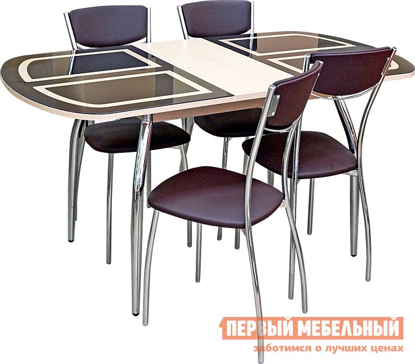 Обеденная группа с овальным столом для кухни Кубика Портофино-мини Рис-1 (ноги хром) + 4 шт. Олива-4 обеденная группа с круглым столом для кухни боровичи норония 4 диметра