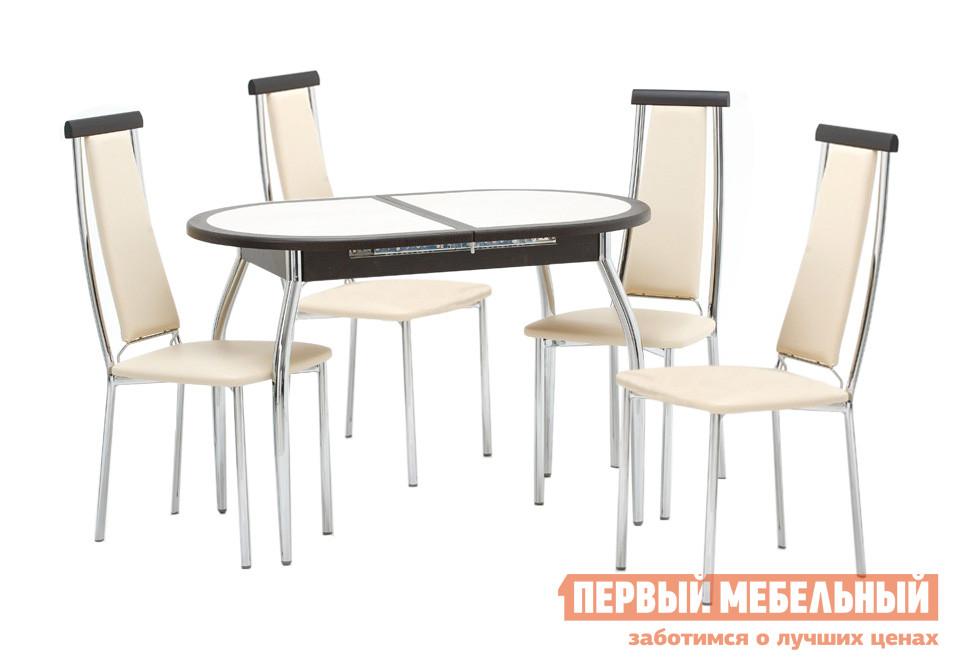 Овальный стол со стульями для кухни Кубика Будапешт О (ноги хром) + 4 шт. Капри-2 стол o grill o dock lite
