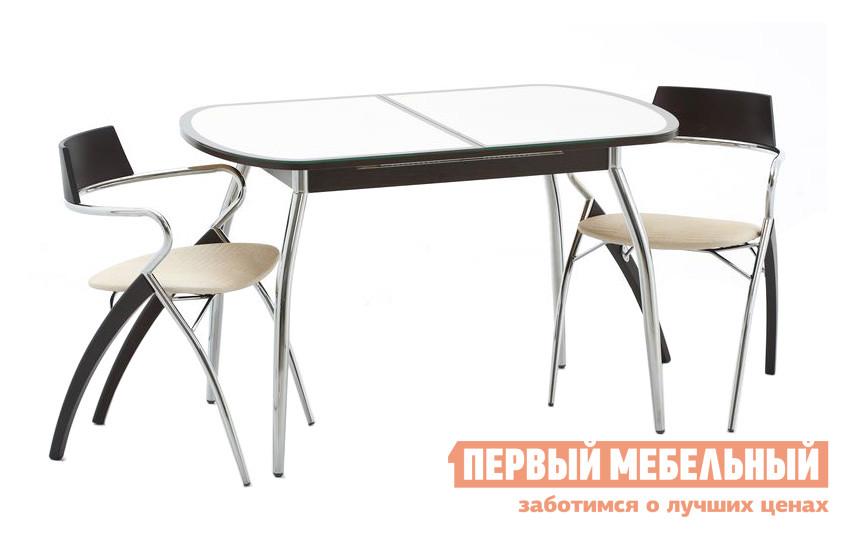 Стеклянный стол на кухню со стульями Кубика Касабланка-1 (ноги хром) + 2 шт. Мартини