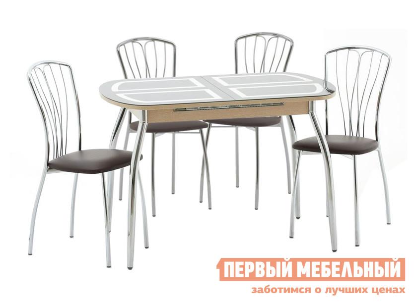 Кухонный стеклянный стол и стулья Кубика Портофино-1 Рис-1 (ноги хром) + 4 шт. Олива-3