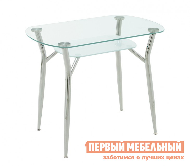 Кухонный стол Кубика Пекин-1 СтеклоКухонные столы<br>Габаритные размеры ВхШхГ 750x900x600 мм. Стол для кухни из каленого стекла.  В конструкции верхнее стекло – прозрачное, нижнее – матовое.  Толщина стекла составляет 8 мм. Ножки – из хромированной стали, с регулировочными винтами. Такой стол украсит любую кухню, так как стекло создает свет и обладает эффектом дополнительного пространства.  Надежен в использовании, прост в обслуживании.<br><br>Цвет: Белый<br>Высота мм: 750<br>Ширина мм: 900<br>Глубина мм: 600<br>Форма поставки: В разобранном виде<br>Срок гарантии: 1 год<br>Материал: Стекло<br>Форма: Овальные<br>Размер: Маленькие<br>С металлическими ножками: Да<br>Глянцевые: Да