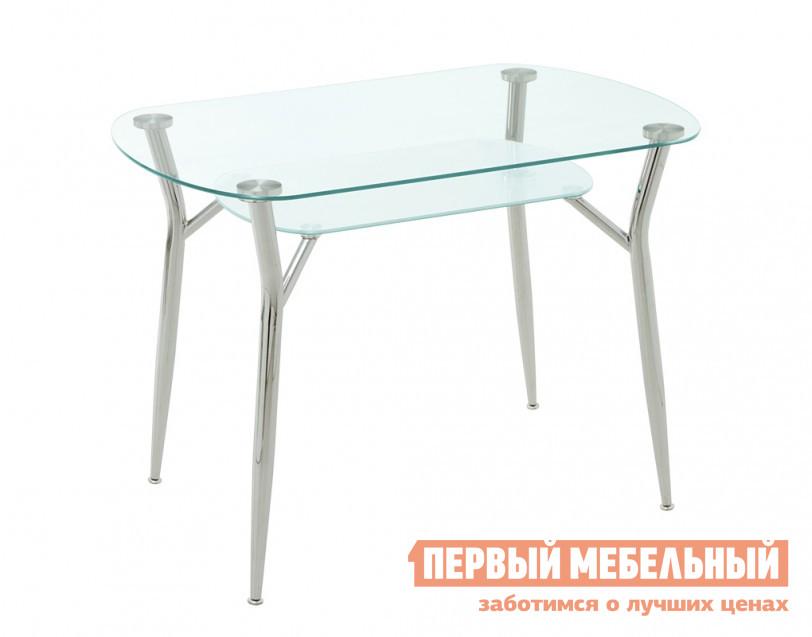 Кухонный стол Кубика Пекин-2 СтеклоКухонные столы<br>Габаритные размеры ВхШхГ 750x1050x700 мм. Придать атмосферу праздничности вашей кухни поможет стол из прочного стекла.  Стол состоит из двух панелей: одна из которых – прозрачная столешница, другая – матовая полочка под ней.  Толщина стекла составляет 8 мм. Расстояние между полкой и столешницей составляет 20 см. Ножки стола - из стали, хромированы. Отсутствие острых углов столешницы обеспечивает полную безопасность использования, а качество стекла не дает образовываться на поверхности различным сколам и трещинам.<br><br>Цвет: Стекло<br>Цвет: Белый<br>Высота мм: 750<br>Ширина мм: 1050<br>Глубина мм: 700<br>Форма поставки: В разобранном виде<br>Срок гарантии: 1 год<br>Материал: Стеклянные<br>Форма: Овальные<br>Размер: Маленькие<br>Особенности: С металлическими ножками, Глянцевые