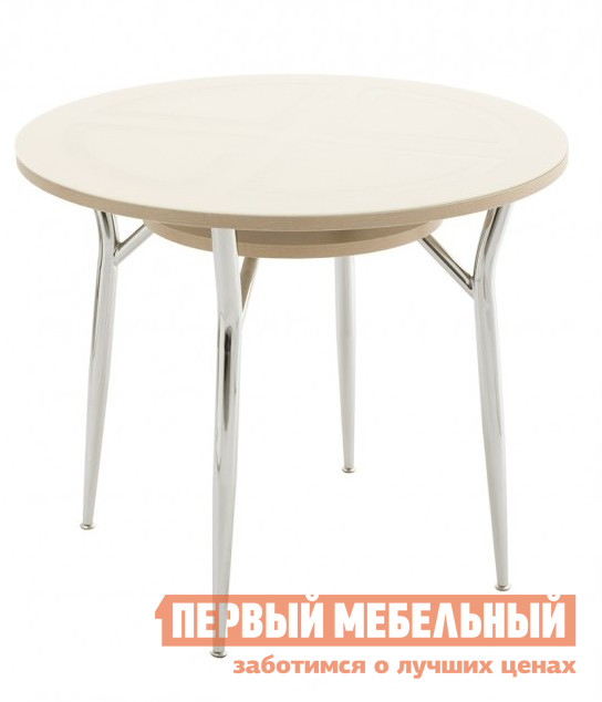 Маленький круглый стеклянный стол на кухню Кубика Шанхай-К