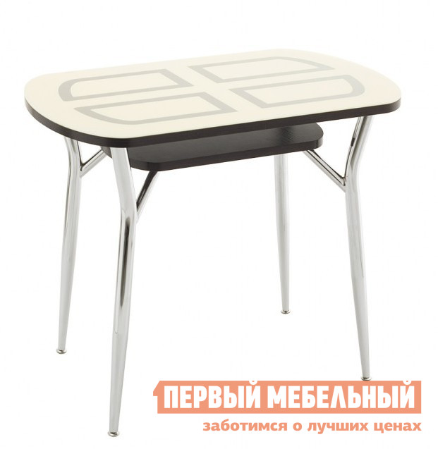Овальный кухонный стол со стеклянной столешницей Кубика Шанхай-1