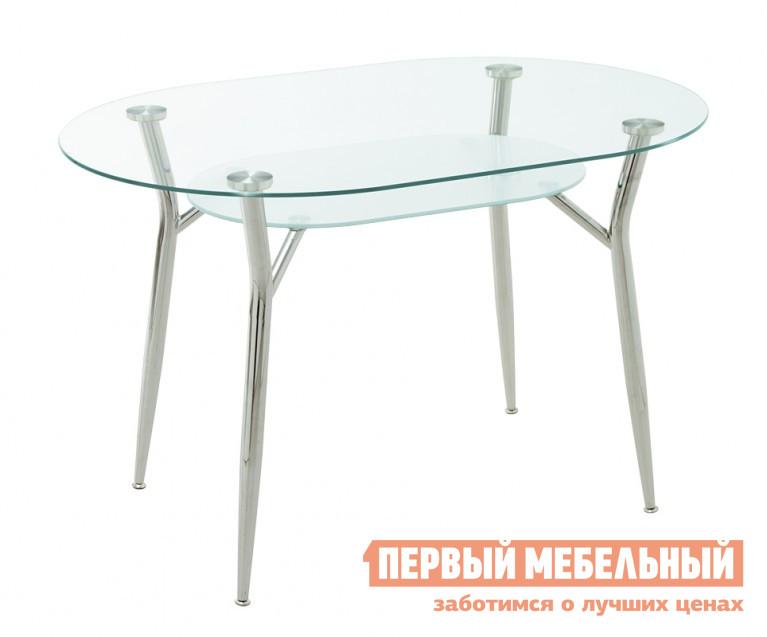 Кухонный стол Кубика Пекин-3 СтеклоКухонные столы<br>Габаритные размеры ВхШхГ 750x1200x800 мм. Большой не раздвижной стол из каленого стекла.  Выполнен в соответствии с современными тенденциями дизайна.  Стекло – прочное, на нем не образуются сколы и трещины.  Толщина стекла составляет 8 мм. Форма столешницы – овальная, без острых углов. Кроме того, под столешницей имеется вторая полочка из матового стекла размером 750х450 мм.  Каркас выполнен из хромированной стали.  Такой стол поможет сохранить пространство света за счет своей стеклянной поверхности.<br><br>Цвет: Стекло<br>Цвет: Белый<br>Высота мм: 750<br>Ширина мм: 1200<br>Глубина мм: 800<br>Форма поставки: В разобранном виде<br>Срок гарантии: 1 год<br>Материал: Стеклянные<br>Форма: Овальные<br>Размер: Маленькие<br>Особенности: С металлическими ножками, Глянцевые
