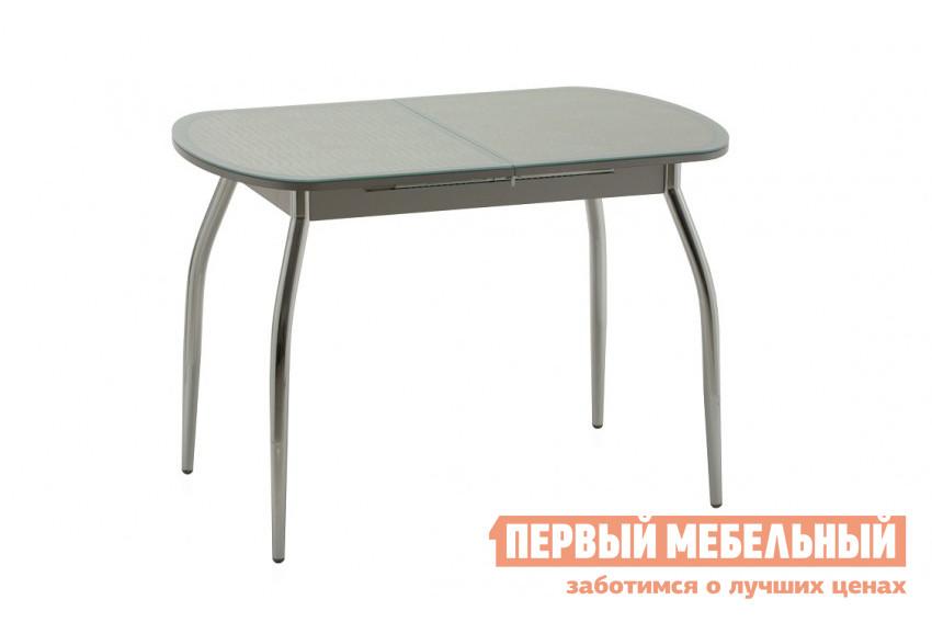 Кухонный стол Кубика Касабланка-мини (ноги хром) Стекло белое / Иск. кожа К-18 / БелоеКухонные столы<br>Габаритные размеры ВхШхГ 750x900 / 1220x600 мм. Оригинальный небольшой раздвижной стол для кухни, созданный с учетом современных тенденций дизайна.  Столешница выполнена из искусственной кожи и каленого стекла, покрытого итальянскими керамическими красками.  Такое сочетание материалов придает модели неповторимый образ.  Ножки – из прочного хромированного металла. В модели предусмотрена фаска safe face, при которой верхний острый край столешницы делается тупым, и от этого более безопасным. Стол легко раскладывается с помощью мехенизма  «бабочка», который основан на выдвижении дополнительной скрытой части столешницы.  Ширина вставки – 320 мм.<br><br>Цвет: Белый<br>Высота мм: 750<br>Ширина мм: 900 / 1220<br>Глубина мм: 600<br>Форма поставки: В разобранном виде<br>Срок гарантии: 1 год<br>Тип: Раздвижные<br>Тип: Трансформер<br>Материал: Стекло<br>Материал: ЛДСП<br>Форма: Овальные<br>Размер: Маленькие<br>С металлическими ножками: Да<br>Глянцевые: Да