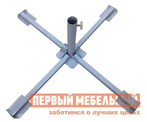 Основание для зонта Афина-мебель SH-1 Серебристый металликОснование для зонта<br>Габаритные размеры ВхШхГ 540x400x400 мм. Устойчивость для зонта на любой поверхности обеспечит основание Крести SH-1.  Максимально простая, прочная конструкция из стали крайне долговечна. Изделие устанавливается на землю или асфальт, но при ветре или использовании высокого зонта желательно использовать утяжелители. Внутренний диаметр трубы — 40 мм.  Ножка зонта затягивается винтовым механизмом для большей надежности.  Стальные лучи имеют длину 400 мм каждый.<br><br>Цвет: Серый<br>Высота мм: 540<br>Ширина мм: 400<br>Глубина мм: 400<br>Кол-во упаковок: 1<br>Форма поставки: В собранном виде<br>Срок гарантии: 3 месяца