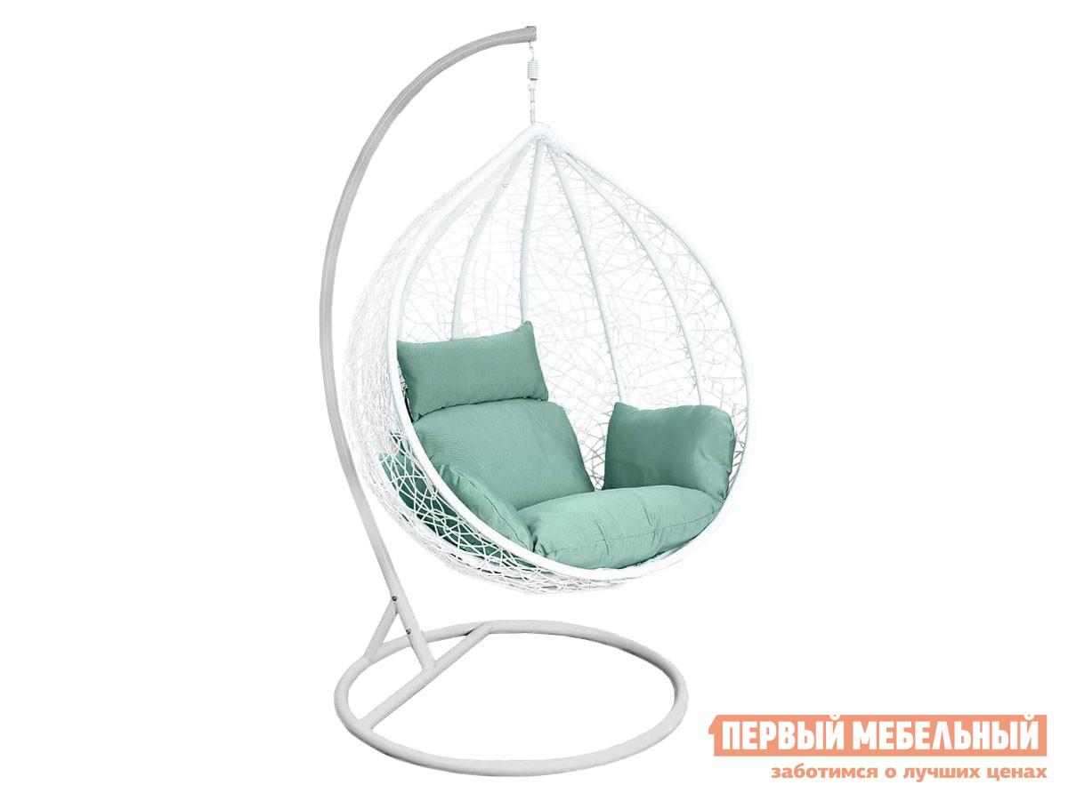 Подвесное кресло Подвесное кресло AFM-168A-XL White/Green Белый, ротанг / Серый, металл / Ментол, ткань фото