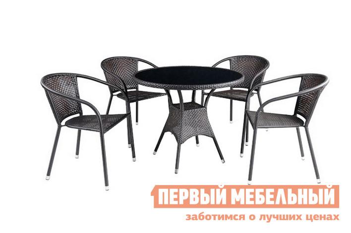 Комплект плетеной мебели Афина-мебель T197A/Y-137B Темно-коричневый ротанг