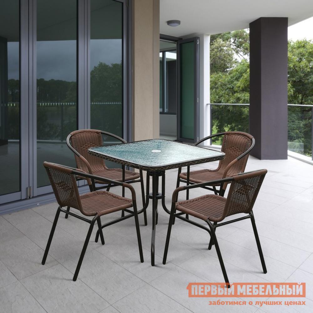 купить Комплект садовой мебели из искусственного ротанга Афина-мебель TLH-037A/073A-80 по цене 14990 рублей