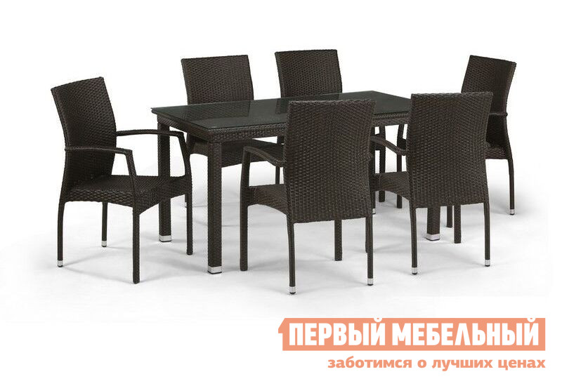 Комплект плетеной мебели Афина-мебель T256B/Y379B-W56 / T256A/Y379A-W53 6Pcs Brown
