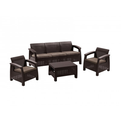 Комплект плетеной мебели Афина-мебель AFM-1030A Темно-коричневый ротанг