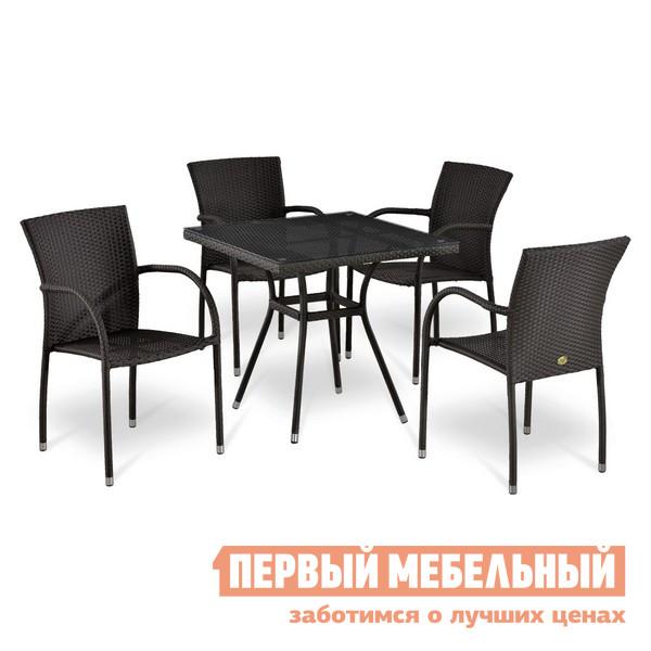 Комплект плетеной мебели Афина-мебель Т283BNT-W2390/Y282А-W52-4PCS комплект плетеной мебели афина мебель т300а y300а w53