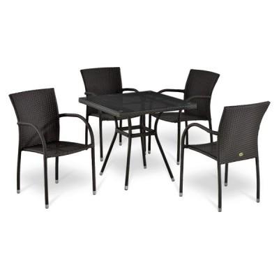 Комплект плетеной мебели Афина-мебель Т283BNT-W2390/Y282А-W52-4PCS Темно-коричневый ротанг (W52)