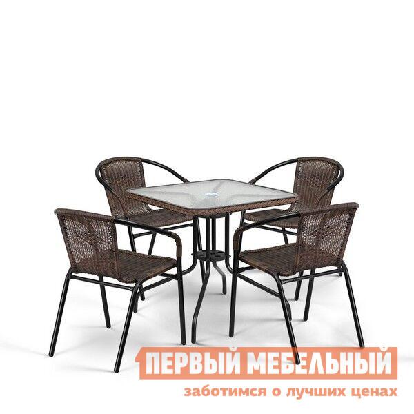 Комплект плетеной мебели Афина-мебель TLH-037/073-70х70 Brown 4Pcs комплект плетеной мебели афина мебель т300а y300а w53