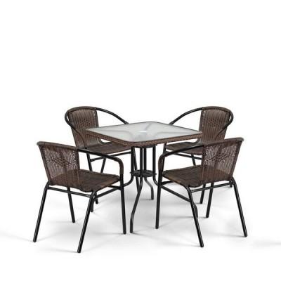 Комплект плетеной мебели Афина-мебель TLH-037/073-70х70 Brown 4Pcs Орех