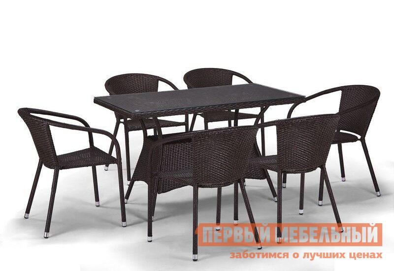 Комплект плетеной мебели из искусственного ротанга Афина-мебель T198D/Y137C-W53 6Pcs комплект плетеной мебели афина мебель т300а y300а w53