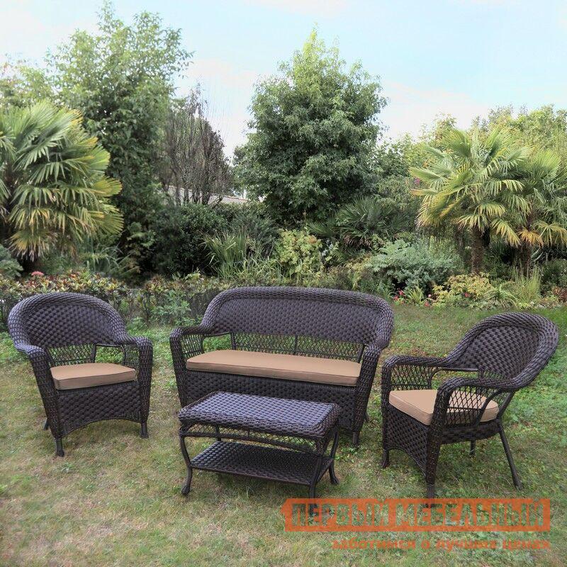Фото Комплект плетеной мебели Афина-мебель LV130 Brown/Beige Brown. Купить с доставкой