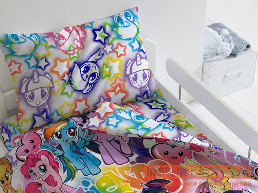 Фото - Комплект постельного белья Первый Мебельный КПБ My Little Pony Граффити, 1,5 сп. комплект постельного белья первый мебельный кпб миньоны миньоны 1 5 сп 70х70