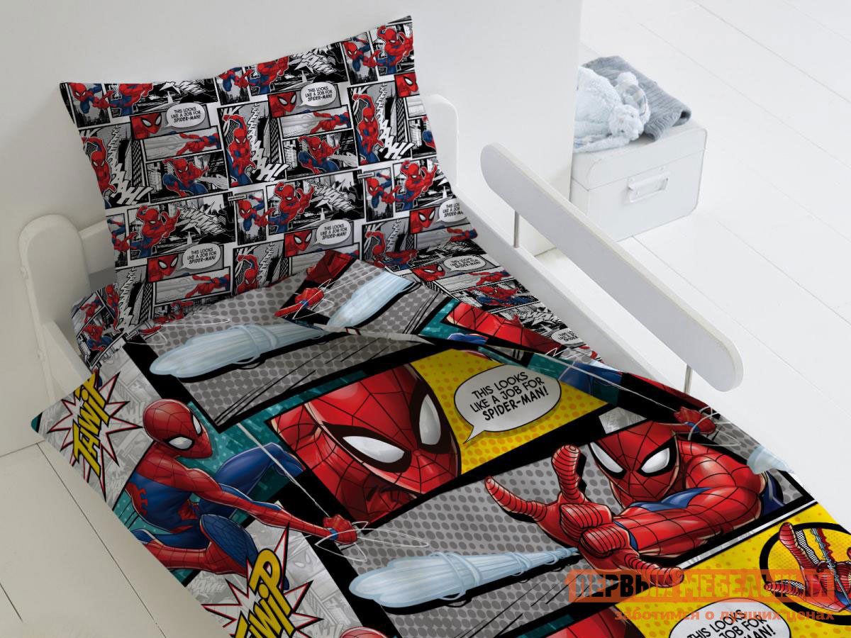 Фото - Комплект постельного белья Первый Мебельный КПБ Человек Паук Человек Паук, 1,5 сп. (70х70) комплект постельного белья первый мебельный кпб миньоны миньоны 1 5 сп 70х70