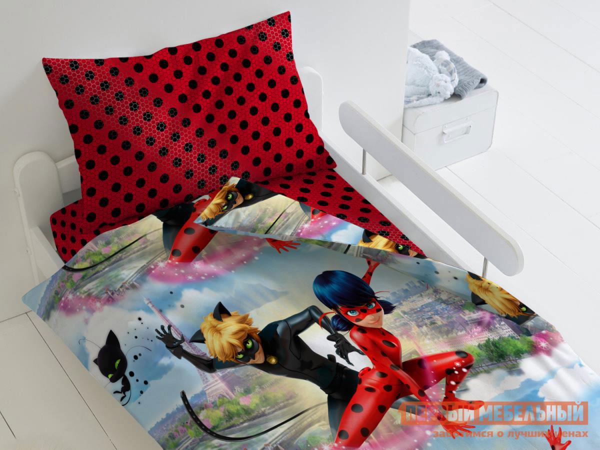 Комплект постельного белья  КПБ Lady Bug Леди Баг и Супер Кот, 1,5 сп 50 Х 70 см Текстильмаркет 125501