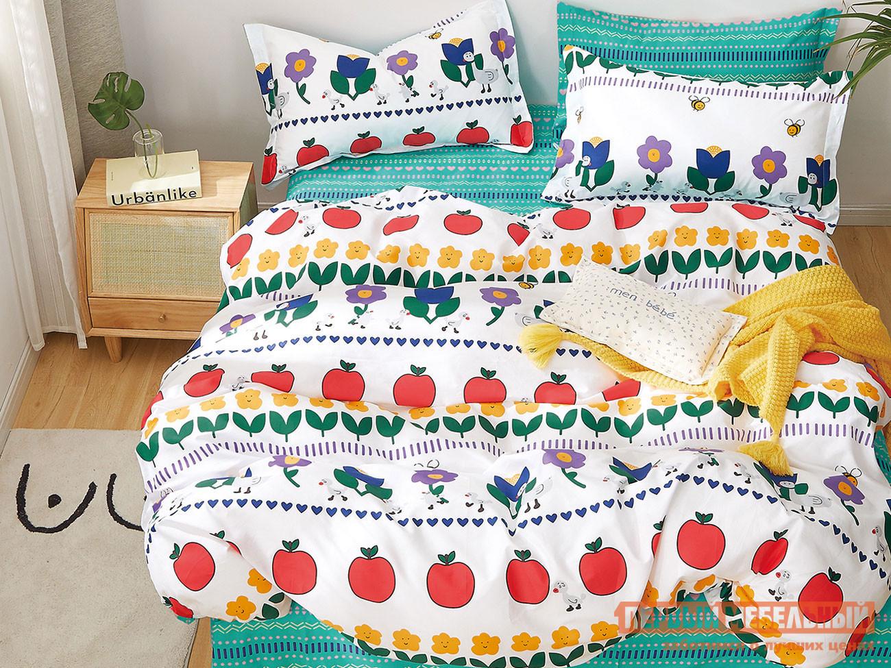 Фото - Комплект постельного белья Первый Мебельный КПБ 1,5 сп сатин Основа Снов белый, яблоко комплект постельного белья первый мебельный кпб сатин основа снов
