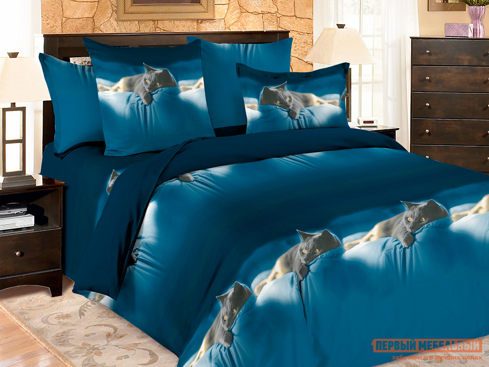 Комплект постельного белья  КПБ Amore Mio BZ Meow Мяу, микрофибра, Полутороспальный